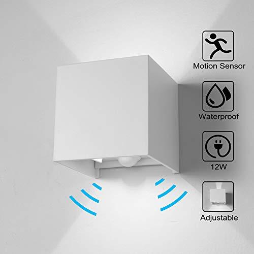 Wandleuchte Bewegungsmelder Aussen/Bewegungsmelder Innen LED Wandlampe, 12W Kaltweiss Licht Wasserdicht Verstellbare Aussenlampe, Wandleuchte Sensor für Garten/Flur/Weg Veranda Hell-Weiß (Weiß) - 277v Lampen