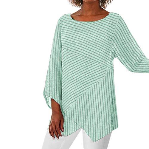 Geilisungren Damen Langarm T-Shirt Rundhals Ausschnitt Lose Bluse Gestreift Langarmshirts Hemd Pullover Sweatshirt Asymmetrisch Saum Oberteile Tops -