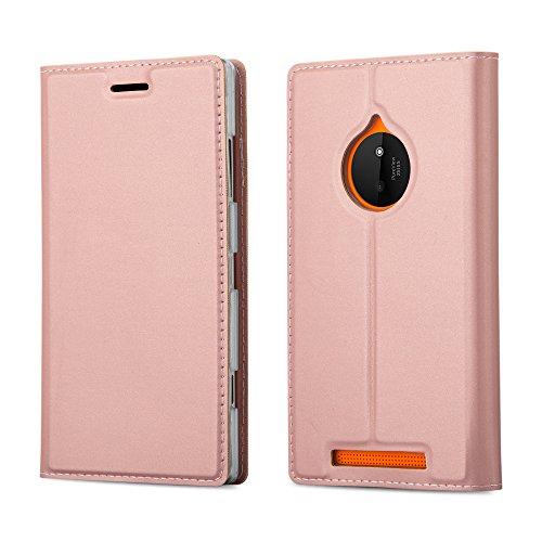 Cadorabo Coque pour Nokia Lumia 830 en Classy Or ROSÉ - Housse Protection avec Fermoire Magnétique, Stand Horizontal et Fente Carte - Portefeuille Etui Poche Folio Case Cover