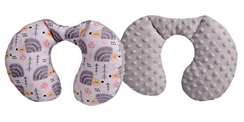 Medi Partners NACKENKISSEN Kinder Nacken Nackenstütze 100% Baumwolle/Minky Baby Nackenhörnchen für auto Kinderwagen autofahrt reisen Schlaf Hals kissen Schlummerrolle (graue Igel mit grauen Minky)