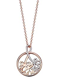 Esprit Damen Halskette Silber vergoldet Zirkonia delicate bouquet rose weiß ESNL93178A