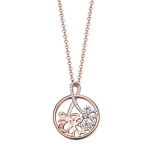 Esprit Damen Halskette Silber vergoldet Zirkonia delicate bouquet rose 42 cm weiß ESNL93178A420