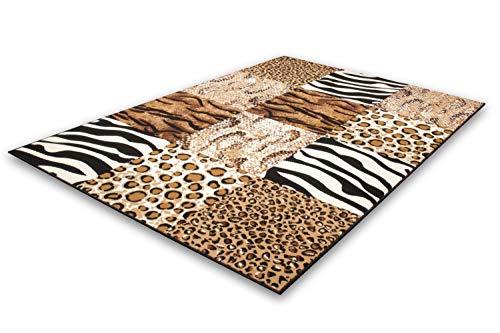 One Couture STYLE BEIGE KASTEN DESIGN PATCHWORK LEOPARDEN RETRO FLACHFLOR TEPPICHE ZEBRA, Größe:80cm x 150cm -