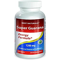 #1 Guarana 1200 mg Per tablet 180 Count by Best Naturals - Energy Formula - A Naturals Source of Caffeine -- Manufactured in a USA Based GMP Certified Facility and Third Party Tested for Purity. Guaranteed!! by Best Naturals