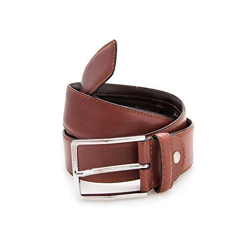 Authentique ceinture faite avec peau de vachette. Fermeture à glissière. Mesures: 100-110 -120 cm. Couleur cuir. cuir