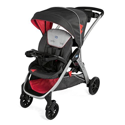 Chicco Stroll'n'2 - Silla de paseo para dos niños con asiento y patinete trasero, color negro y rojo (Lava)