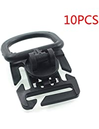 Lorjoyx 10pcs Tactical Grimlock Rotation D-ring Clips Buckle Molle Webbing Attachment Backpack Locking Carabiner