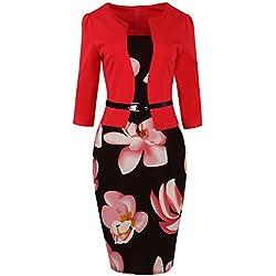 MisShow Robe Femme Moulante Crayon Mi Longue Manche Longue Imprimée à Fleurs Robe Femme pour Travail Décontractée Rouge S