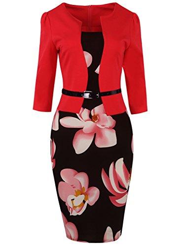 MisShow Robe Femme Moulante Mi Longue Grande Taille Imprimée à Fleurs pour Soirée Mariage Manche 3/4 Elégante Rouge 4XL