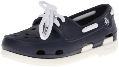 Crocs Beach Line Lace PS, Unisex-Child Boat Shoes, Blue (Navy/White), 12 UK Child