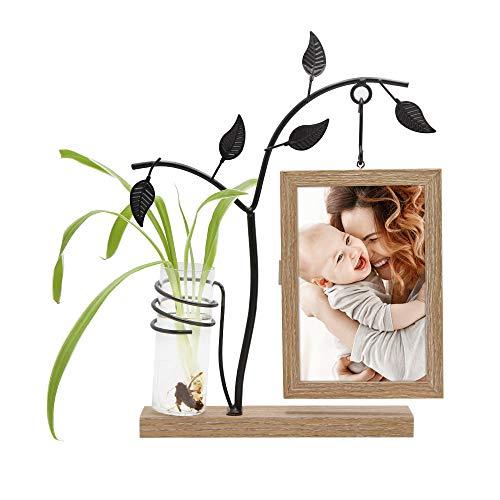 SUMGAR 4x 6Marco de Fotos con pequeño jarrón de Cristal para Colgar sobre única luz marrón Adorno de Madera Soporte