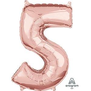 """anagram balón de papel de aluminio 26""""""""-66cm número 5Rose Gold, Oro, 7a3660001"""