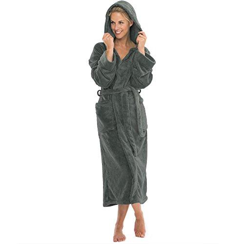 aqua-textil Bademantel mit Kapuze Damen Herren Morgenmantel weich und super flauschig, Coral Fleece Saunamantel lang, 1000450 Malibu XS grau