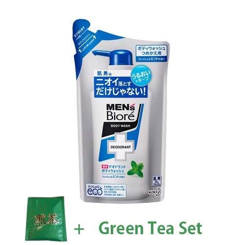 Kao Men's Biore Medicinal Deodorant Body Wash Refill 380ml - Fresh Mint Scent (Green Tea Set) -