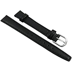 14mm Calf leather watch strap band in black with buckle in silver