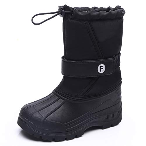Kids Snow Boots Boys Girls Walking Hiking Cosy Winter Fur Lined Warm Shoes Cold Weather Outdoor Non-Slip High Top Boot Waterproof