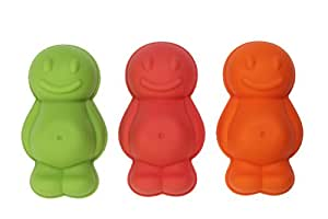 Dexam Silicone Jelly Baby Moulds, Set of 3, Red/ Orange/ Green