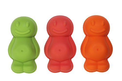 Dexam Silicone Jelly Baby Moulds, Set of 3, Red/Orange/Green