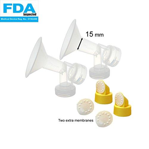 2xDe una sola pieza copa con válvula y membrana para extracores de leche Medela, Tamaño 15 mm; Hecho por Maymom