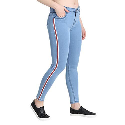 ZXN Clothing Denim Women Side Strip Side Tape Strechable Ankle Length Slim Fit.Light Blue