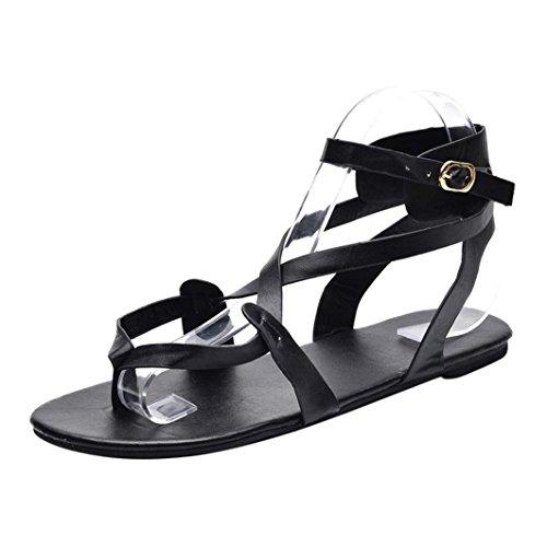VJGOAL Damen Sandalen, Damen Mode Round Toe Atmungsaktive Lace-up Strand Sandalen Rom Casual Flache Sommerschuhe (40 EU, Schwarz)
