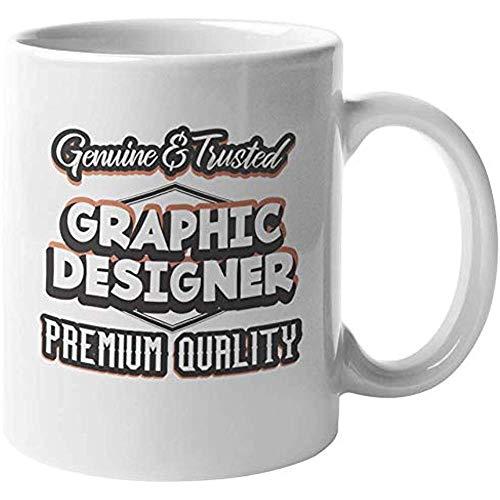 Diseñador gráfico genuino y confiable. Taza de regalo de café y té de diseño gráfico genial para diseñador web, artista visual y digital, ilustrador, profesional, hombres y mujeres (11 oz)