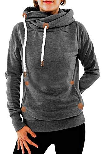 Cindeyar Damen Hoodie Winter Pullover Kapuzenpullover Langarm Baumwoll Mischung Warmer Sweatshirt Kapuzenjacke(Grau-1,2XL) -