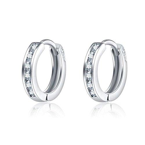 Hanie Damen Creolen Ohrringe 925 Sterling Silber Sleeper Kreole Durchmesser 13mm Klein Weiß Zirkonia für Frauen Mädchen Kinder Nickelfrei und Allergiefrei -