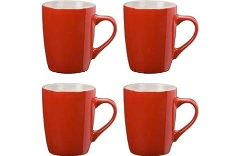colourmatch Mug Set de 4Pièces Bicolore–Rouge