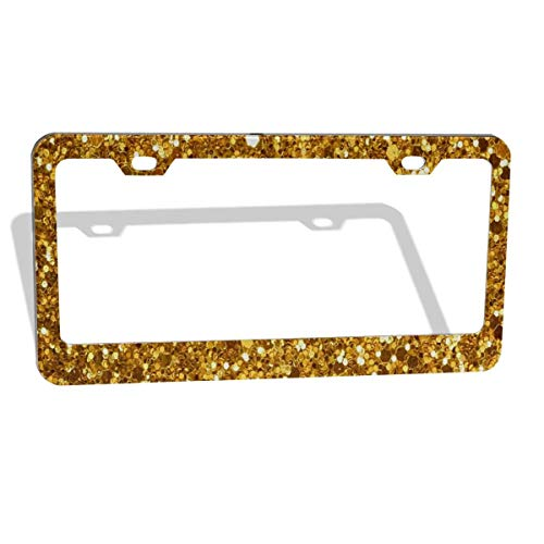 FunnyCustom License Plate Frame Best Yellow Sparkling Amazing Aluminum License Plate Set Metal Tag Holder 12 x 6 Inch 2 Packs