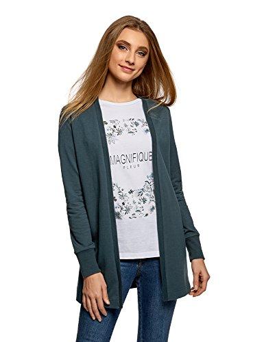 oodji Ultra Damen Verschlussloser Jersey-Cardigan, Grün, DE 42 / EU 44 / XL