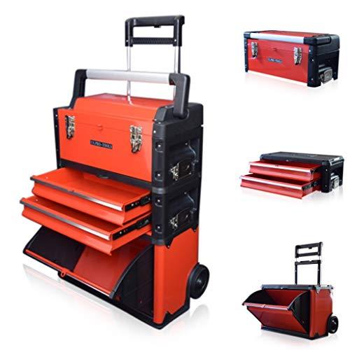 US PRO TOOLS plástico de color rojo, móvil de acero armario con ruedas para carrito para pecho 3en...