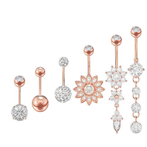 YHmall 6 Stück Edelstahl Zirkon Bauchnabel Bauchnabelpiercing Bauch Piercing Nabelring Schmuck für Damen,6 Stile (Rose Gold/Silber) MEHRWEG