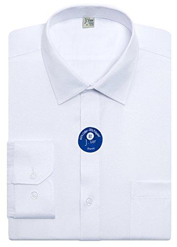 "J.Ver Men's Dress Shirts Regular Fit Long Sleeve Solid Collar Business Shirts Basic - Color:001 Twilled White, Size:17.5"" Neck / 32""-33"" Sleeve"