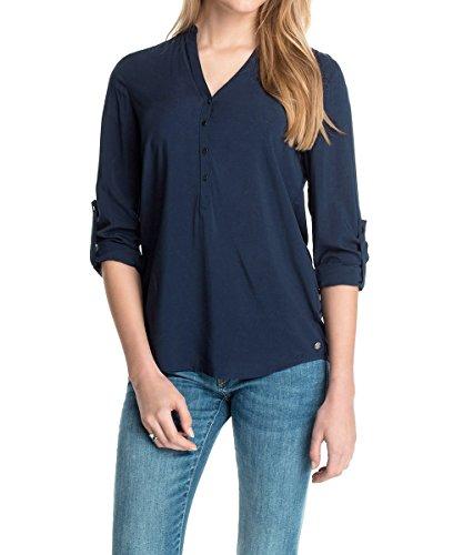 ESPRIT Damen Regular Fit Bluse 995EE1F900, Blau (cinder blue), 42 (Langer Rock Bluse Seide)