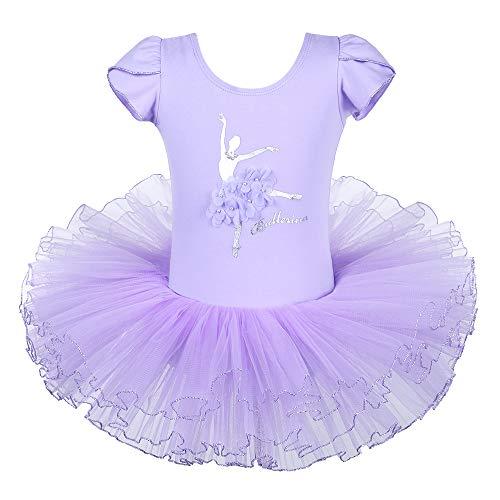 ZNYUNE Mädchen Ballettkleid Ballettanzug Ballett Kleider Turnanzug Trikot Leotard Tutu Tütü Tanzkleid Rock Kostüm Tanzkleidung Lila 6-7 (Lila Unitard Kostüm)