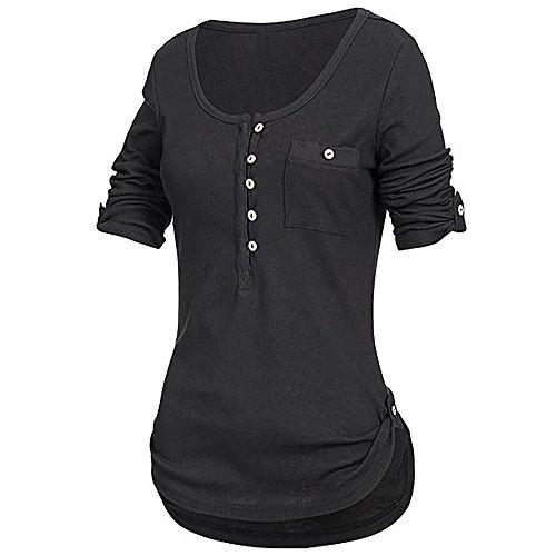 iHENGH Damen Sommer Top Bluse Bequem Lässig Mode T-Shirt Blusen Frauen festes langärmliges Knopf Blusen Pullover Oberseiten Hemd mit Taschen(Schwarz, 2XL) Rag Doll Cat Sweatshirt