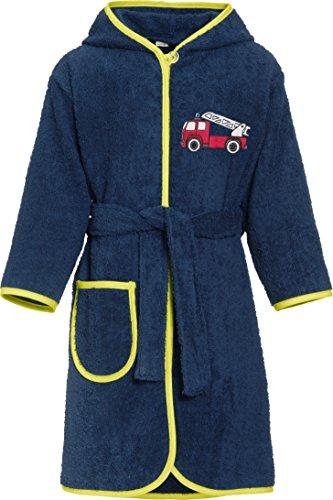 Playshoes Jungen Bademantel Kinder Frottee Feuerwehr, Blau (Marine 11), 122 (Herstellergröße: 122/128)