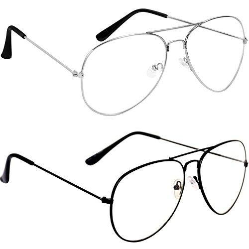 Mr. Brand Transparent Stylish Aviator Unisex Sunglasses Night Driving (WT 102|50|White-Plain) Combo of 2