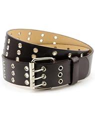 Merveilleuse ceinture unisexe en cuir véritable à trois trous encerclés de métal. Classique et intemporelle, cette ceinture se porte au quotidien.