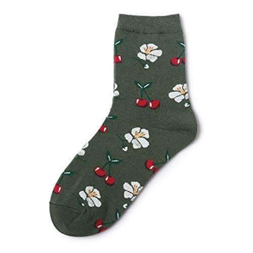Bradley SalomeBra Unvorstellbar 1 Pair Fruit Tube Socks Avocado Ananas Avocado Drucken Baumwollsocken Fashion Women Girls Spring Sock Meias(None 1 Green Cherry) (Cherry Girl Kostüm)