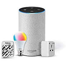 Amazon Echo (White) Bundle with Oakter 6A smart plug, Wipro 9W smart bulb and universal voice remote