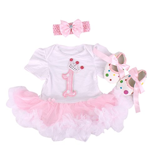 Baby Girls' 3PCs 1st Birthday Tutu Dress With Headband Shoes (9-12months) (Baby 12 Month Girl)