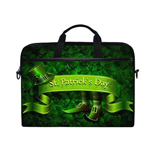 -Tasche, St Patrick Day Hats Kleeblatt Canvas Stoff Laptop Tasche Bussiness Handtasche mit Schultergurt für Damen und Herren ()