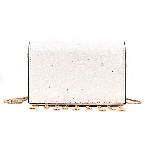 MSZYZ Weihnachtsgeschenke Satchel Fashion Umhängetasche Kleine Pailletten Alle-Match Chain Bag Weiss