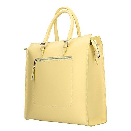 Chicca Borse Borsa a mano in pelle 35x36x12 100% Genuine Leather Giallo