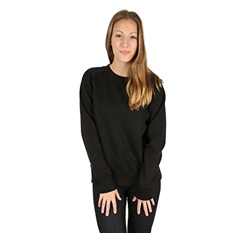 Parsa Fashions ® Womens Plain Classic Sweatshirt Sweater Cosy Fleece Full Sleeve Jumper Ladies Gym Workout Top Casual Work Leisure Sport Baseball Pull Over UK 6-16 (S/M (UK 8-10), Black)
