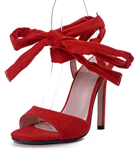 Aisun Damen Einfarbig Schnürung Offene Zehen Stiletto High Heels Römersandalen Rot