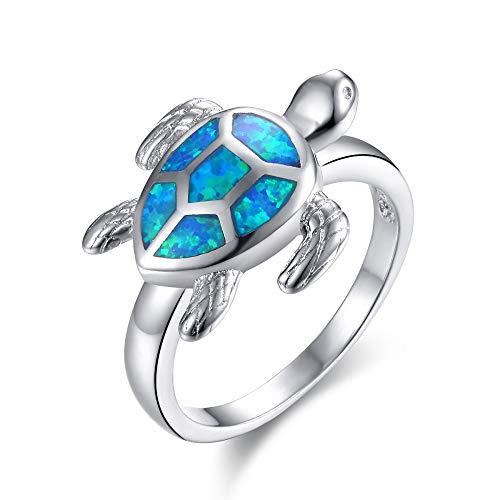 QAS Schildkröte Ring Weiblicher Opal Ring Tier Meeresschildkröte,Weiß,Nr. 9