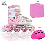 JASPO Sparkle Dual Adjustable Inline Skates Combo with Front Light Up Wheels Beginners